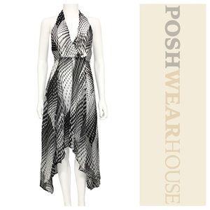 Dresses & Skirts - Black & White Tie-Back Abstract Handkerchief Dress